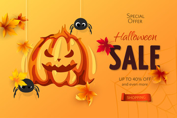 Vector Halloween sale banner with carving art of pumpkin, paper spiders and maple leaves. 3D realistic festive orange background in paper cut style for design of flyer with discount and special offers