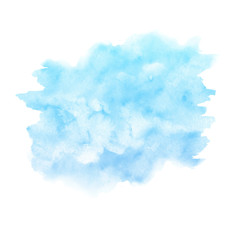 Watercolor blue paint texture isolated on white background. Abstract backdrop.