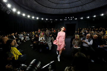 Models present creations by designer Casey Cadwallader as part of his Spring/Summer 2019 women's ready-to-wear collection show for Mugler during Paris Fashion Week in Paris