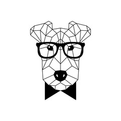 Polygonal Fox Terrier Dog in fashion glasses and bow tie. Geometric dog icon. Vector illustration.