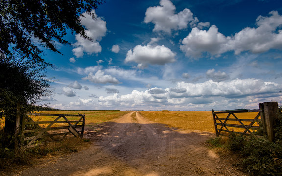 Gateway leading to field in rural setting with blue skies and fluffy white clouds