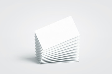 Blank white calling business cards stack mockup, no gravity, 3d rendering. Empty bussiness papers mock up. Clear namecard pile template. Visiting papersheet for for company name, phone number, email