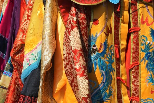 Close-up of colorful silk Chinese robes