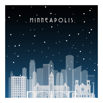 Winter night in Minneapolis. Night city in flat style for banner, poster, illustration, background.