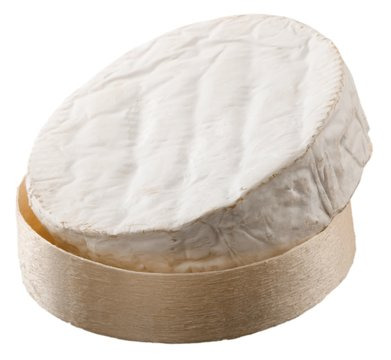 Round Camembert Cheese in Wooden Platter - Isolated