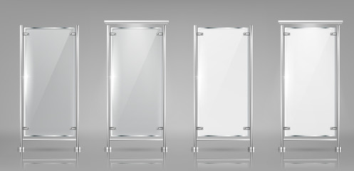 Vector set of empty glass banners on metal racks, transparent and white displays isolated on background. Mockup with blank billboards, vertical panels for information and outdoor advertising
