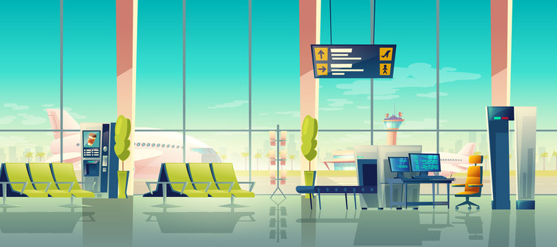 Airport security check vector illustration of terminal with passenger and baggage X-ray scanner checkpoint. Cartoon interior of waiting hall seats with view to airfield. Comfort and safety concept