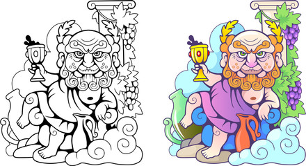 Cartoon Greek god Dionysus, funny illustration, coloring book