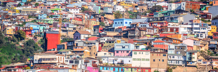 Panorama of colorful houses on a hill of Valparaiso, Chile