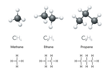 Methane, ethane, propane molecule models and chemical formulas. Organic chemical compounds. Natural gas. Ball-and-stick model, geometric structure, structural formula. Illustration over white. Vector.