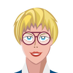 Portrait of happy blonde woman wearing thick spectacles and looking at camera. Vector illustration