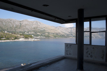 Sea view from destroyed builidng
