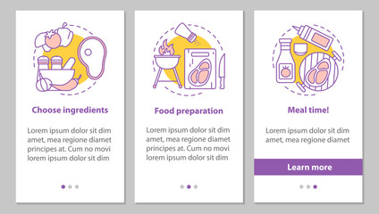 Cooking onboarding mobile app page screen with linear concepts