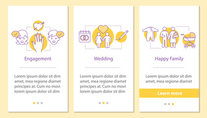Family life cycle onboarding mobile app page screen with linear