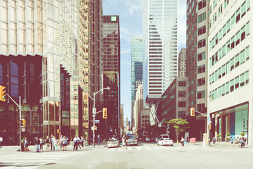 Rush hour atToronto's busiest intersections. Financial district at the background.