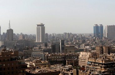 "The Egyptian Radio and Television Union (ERTU) headquarters, along with banks, hotels, office and residential buildings, is seen in the so-called ""Maspero Triangle"" in Cairo"