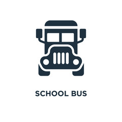 School bus icon. Black filled vector illustration. School bus symbol on white background.
