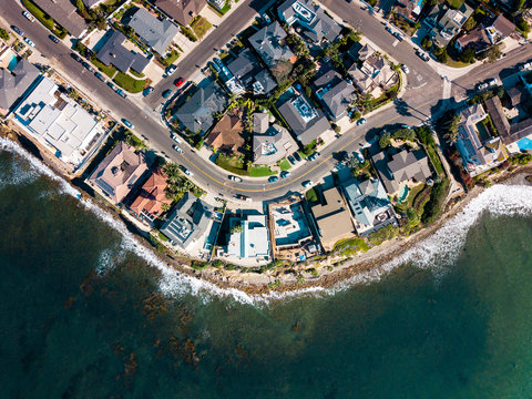 Streets and houses of San Diego Pacific beach aerial