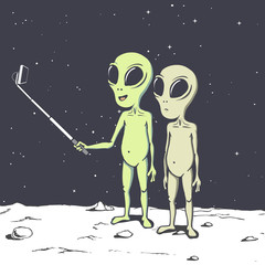 Two aliens make selfie.Humanoids photographs himself.Vector illustration. Space design