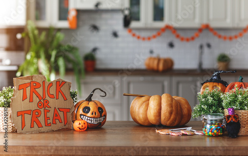 interior of home decorated for holiday of Halloween with pumpkins