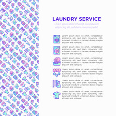 Laundry service concept with thin line icons: washing machine, spin cycle, drying machine, fabric softener, iron, ozonation, repair, clothepin. Vector illustration for banner, print media template.