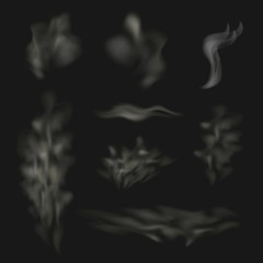 Vector Smoke Waves Collection, Clouds of the Fog Set.