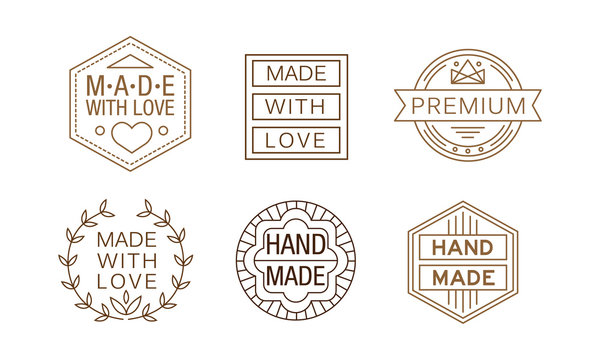 Vector set of linear labels for handmade crafts. Original emblems for business card or product packaging