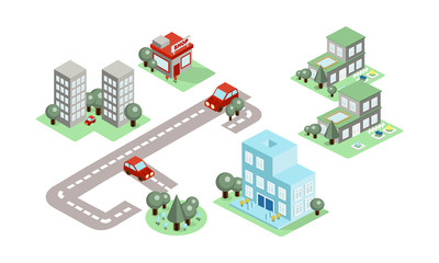 Vector set of isometric city elements. Buildings, trees, road and cars. Design for poster of estate agency or mobile game