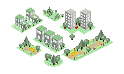 Vector set of isometric city elements. Parks with benches and green trees, private houses and high-rise buildings