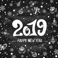 2019 New Years Greetings with Holiday Decorations on Black Chalkboard Background