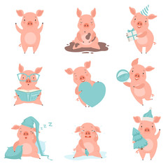 Cute cheerful little pink pigs set, funny piglets cartoon characters in different situations vector Illustration on a white background