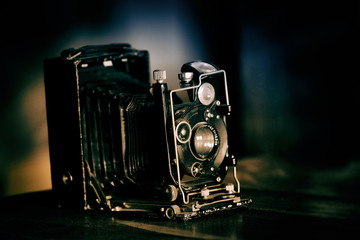 very old black retro camera, retro toned