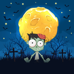 Zombie on Night Halloween Background with Moon