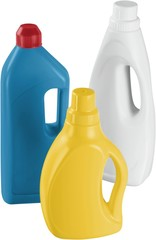 Three Colorful Bottles of Detergent - Isolated
