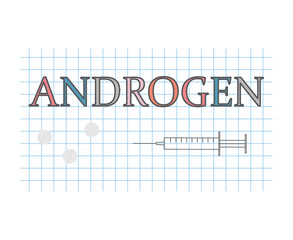 androgen word on checkered paper sheet- vector illustration