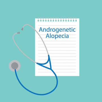 Androgenetic alopecia written in a notebook- vector illustration