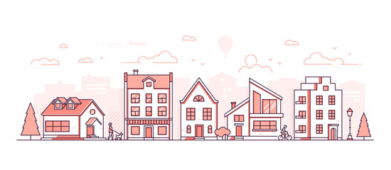 City life - modern thin line design style vector illustration