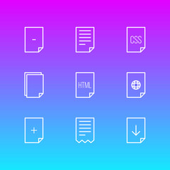 Vector illustration of 9 page icons line style. Editable set of documents, remove, download and other icon elements.