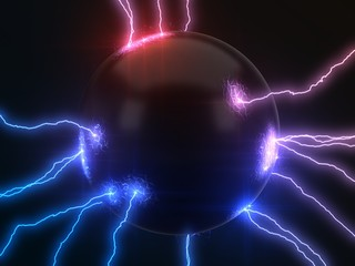 powerful lightning strikes on sphere and makes cracks on surface of sphere. dual color version, 3d illustration