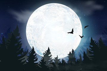 Blue dark Night sky background with full moon, clouds and stars