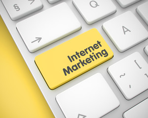 Internet Marketing - Message on Yellow Keyboard Button. 3D.
