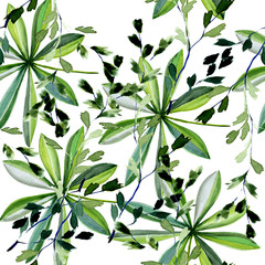 Seamless pattern. Watercolor, pattern with green leaves, hand-drawn natural illustration