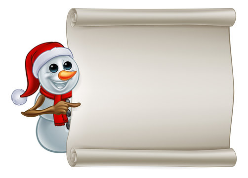 A snowman Christmas cartoon character wearing a Santa hat pointing at a scroll banner sign
