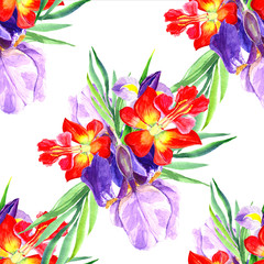 Seamless, floral pattern in the style of watercolor. Floral wild flower for background, texture, pattern of wrapper, frame or border.