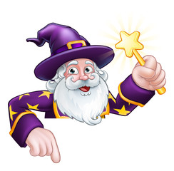 A wizard merlin magician Halloween cartoon character peeking over a sign pointing and holding a wand