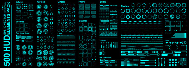 Mega set Futuristic Hud elements. Futuristic virtual graphic touch user interface