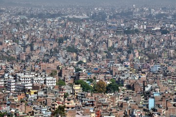 Panorama view to Kathmandu city from Swayambhunath temple, Nepal