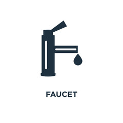 Faucet icon. Black filled vector illustration. Faucet symbol on white background.