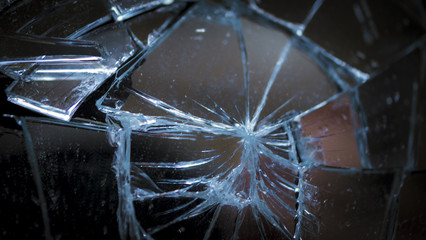 Pieces of splitted or broken glass