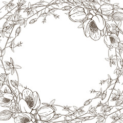 Wreath of wild herbal flowers. Vector. Hand drawn artwork. Love concept for wedding invitations, cards, tickets, congratulations, branding, boutique logo, label. Botanical style sketch